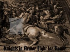 knights in armor fight in honor designer fabric iron-on